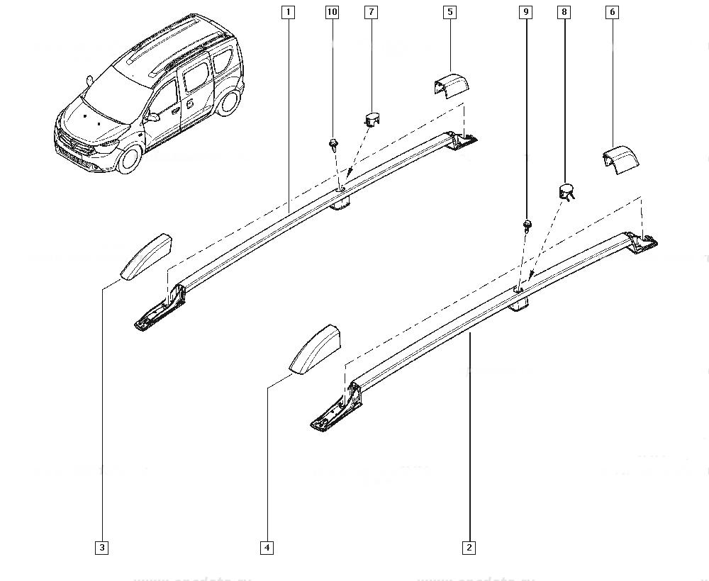Dokker - Barras de techo longitudinal de acero (Dacia Original)