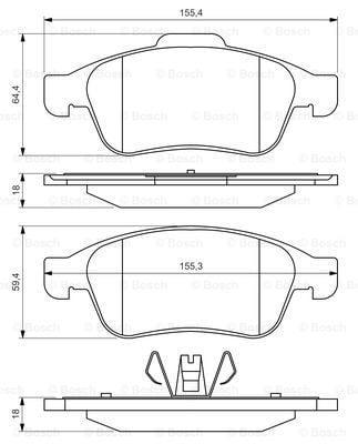 Pastillas de freno - delantero (coches con ESP) DACIA LODGY (BOSCH 0986494441)