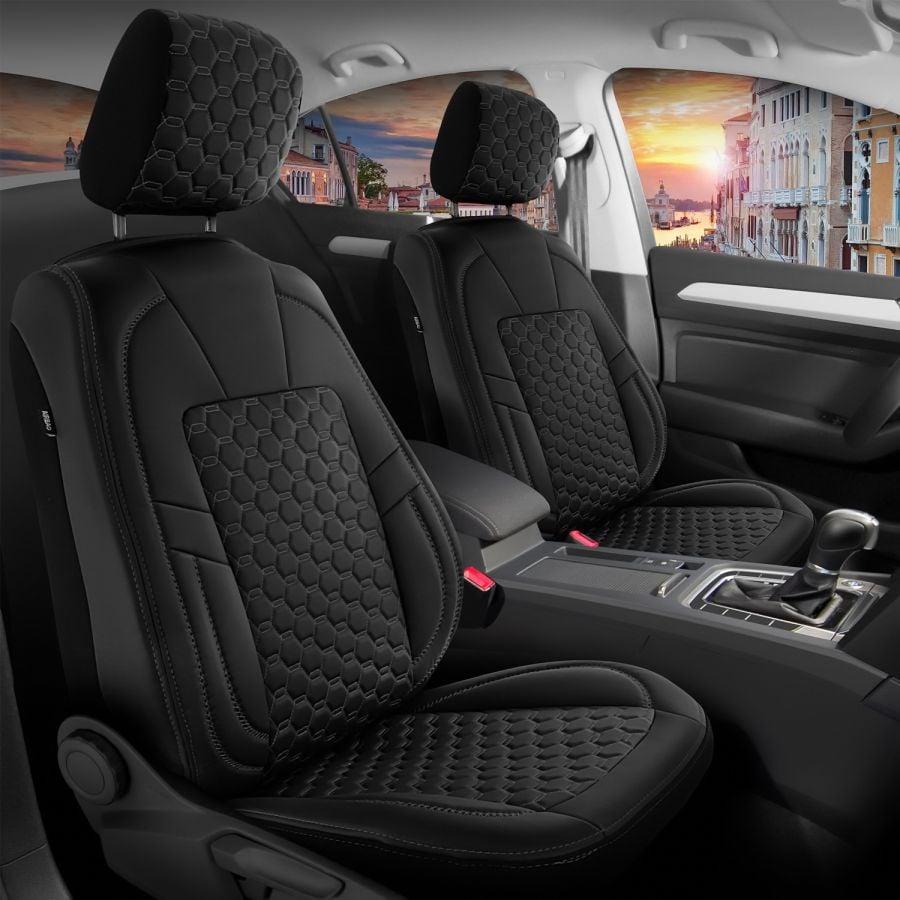 Duster II (2018-2021) - Édition noir Housses de siège Premium cuir - fait sur mesure pour Duster et compatible avec accoudoir latéral
