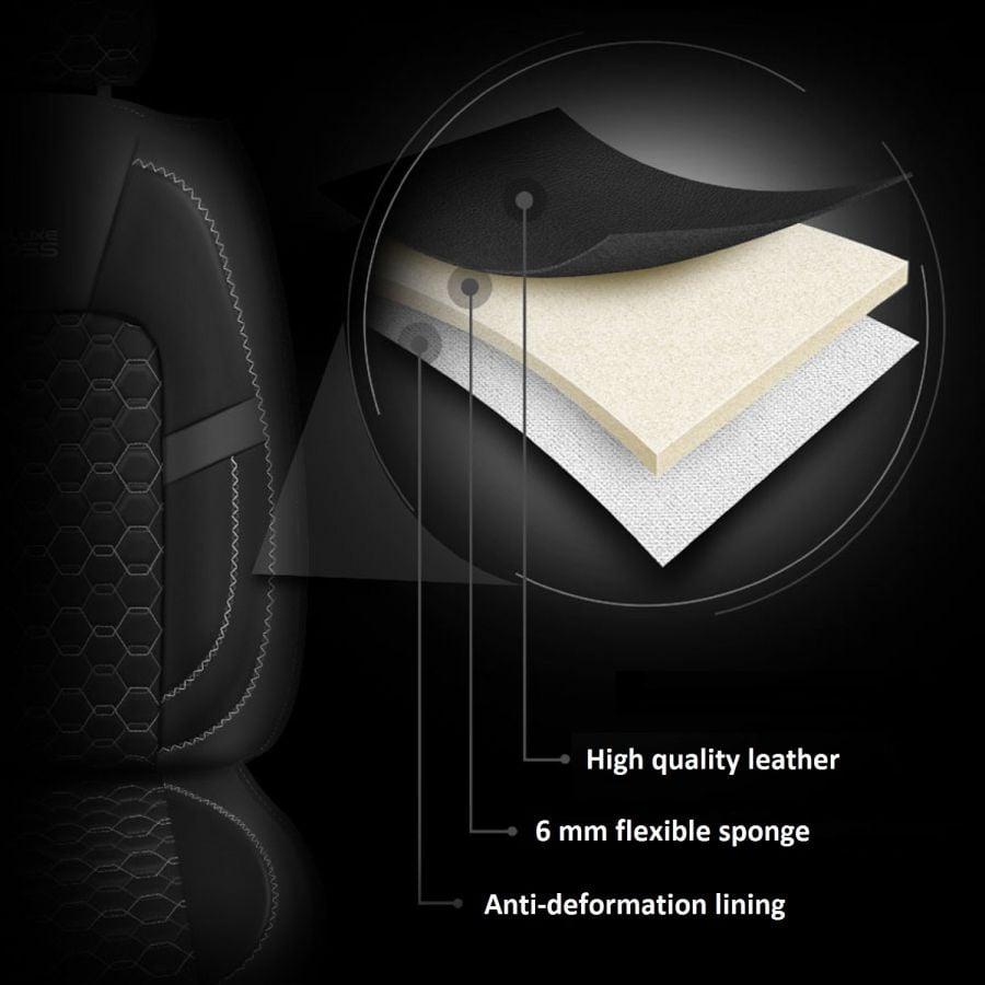 Duster II (2018-2021) - Édition Prestige Housses de siège cuir - fait sur mesure pour Duster et compatible avec accoudoir latéral