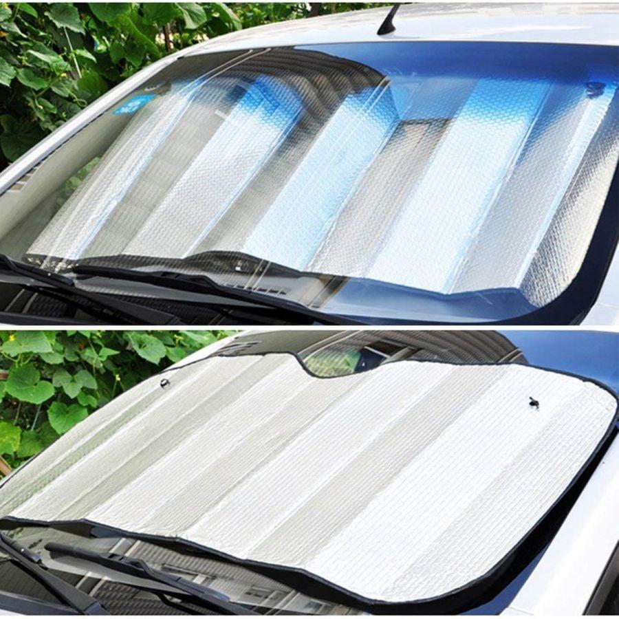 Foldable windshield sun shade