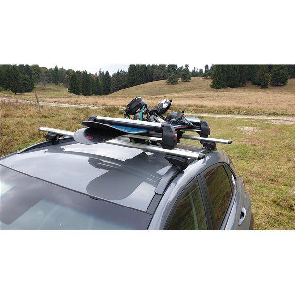 Support ski snowboard Menabo Frozen Plus sur barres transversales, 6 paires de skis / 4 snowboards