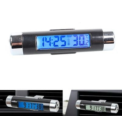 Car thermometer with clock
