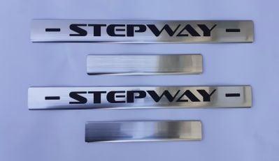 """Sandero II Stepway - Premium door sills """"Pure Steel"""" - front and rear"""