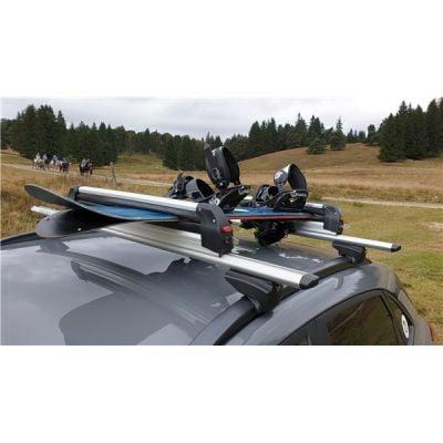 Support ski snowboard Menabo Silver Ice sur barres transversales, 6 paires de skis / 4 snowboards