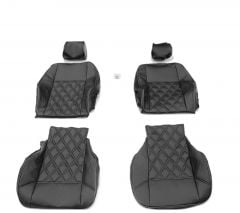 Duster II (2018-2021) - Seat covers DELUXE Black Leather -compatible with side armrest