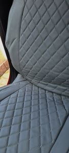 Duster II (2018-2020) - Seat covers DELUXE Gray Leather -compatible with side armrest
